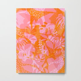 Tropical Jungle Pattern - Orange & pink Metal Print