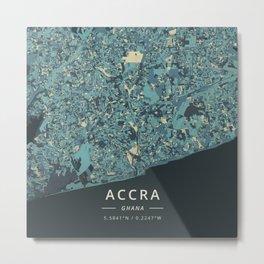 Accra, Ghana - Cream Blue Metal Print