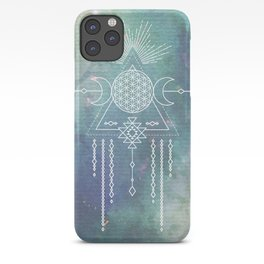 Mandala Flower of Life in Turquoise Stars iPhone Case