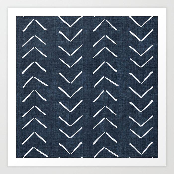 Mud Cloth Big Arrows in Navy Kunstdrucke