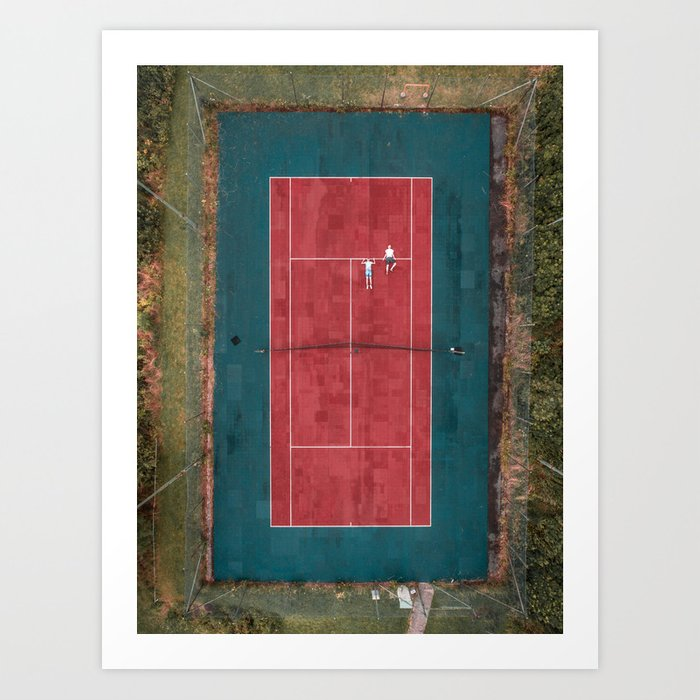 Tennis court, view of drone Art Print