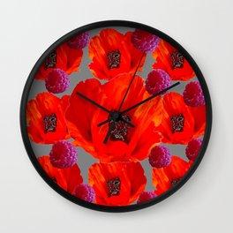 SUCCULENT PURPLE RASPBERRIES & ORANGE POPPIES ABSTRACT Wall Clock