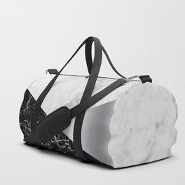 White Marble - Black Granite & Silver #230 Duffle Bag