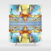 sci fi Shower Curtains featuring Sci Fi Horizons by Phil Perkins