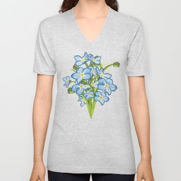 Bouquet of Blossoming Myosotis Flowers Unisex V-Neck