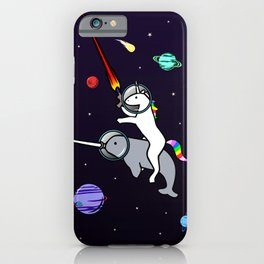 Unicorn Riding Narwhal In Space iPhone Case