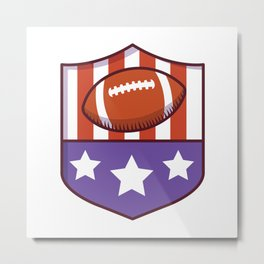 Shield With American Flag and Football Metal Print