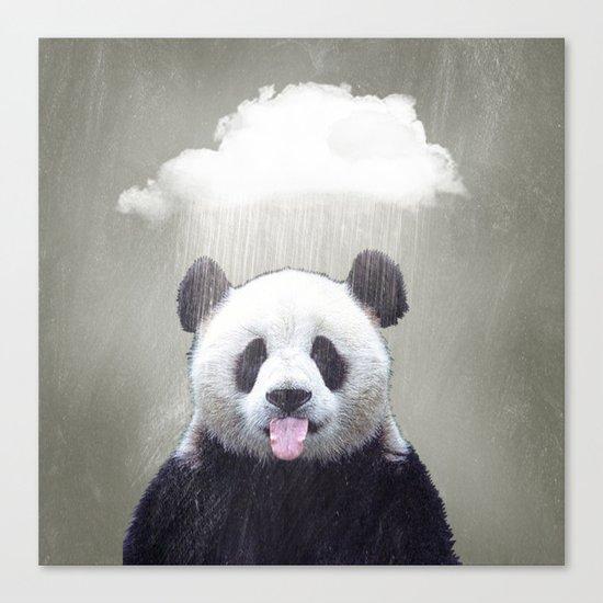 Panda Rain Canvas Print