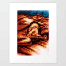 couple in mountains Art Print