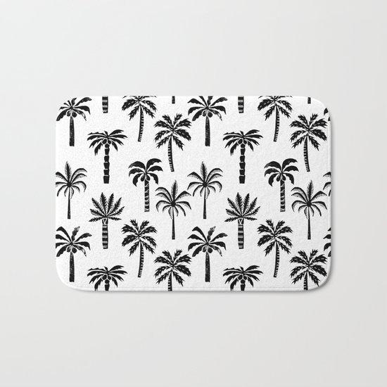 Palm Tree linocut pattern minimal tropical black and white minimalist Bath Mat