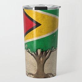 Vintage Tree of Life with Flag of Guyana Travel Mug