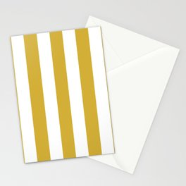 Metallic gold yellow - solid color - white vertical lines pattern Stationery Cards