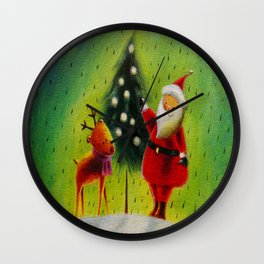Santa and his Reindeer Wall Clock