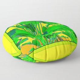 YELLOW GREEN & GOLD TROPICAL  GREEN FOLIAGE ART Floor Pillow