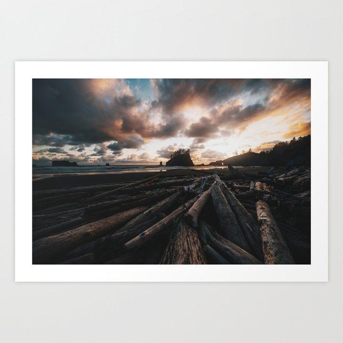 Second Beach at Sunset Art Print