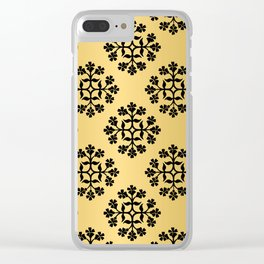 Black on Gold Repeating Tile Digital Design Clear iPhone Case