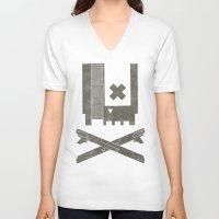 castlevania V-neck T-shirts featuring Nes Skull by Hector Mansilla