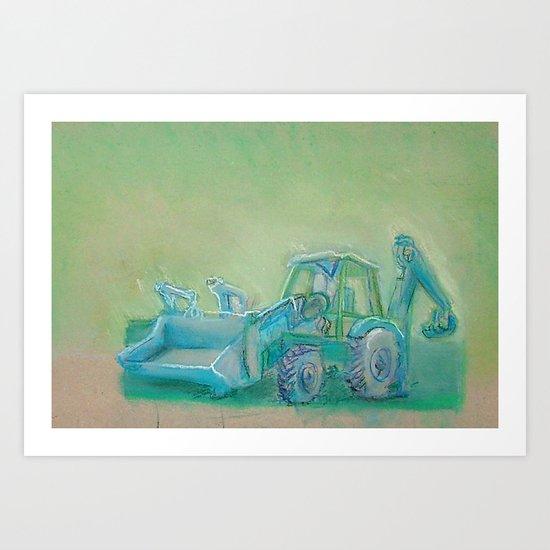 Traktor blue Art Print