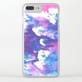 Blue pink watercolor Clear iPhone Case