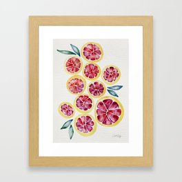 Sliced Grapefruits Watercolor Framed Art Print