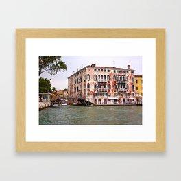Venice seen from a boat. Framed Art Print