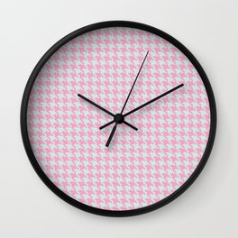 Pink & Green Pixelated Houndstooth Pattern Wall Clock