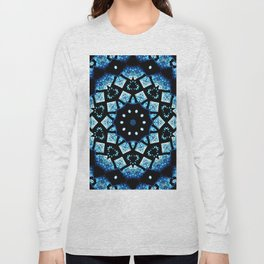 Blue Black Mosaic Kaleidoscope Mandala Long Sleeve T-shirt