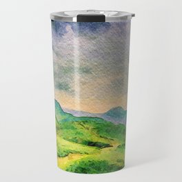 Moody Mountains in the Lake District, England. watercolor painting Travel Mug