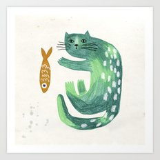 Green cat with fish Art Print