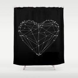 Polygon Love Heart modern black and white minimalist home room wall decor canvas Shower Curtain