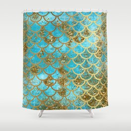 Aqua Teal & Gold Glitter MermaidScales - Mermaid Scales And Sea Foam Shower Curtain