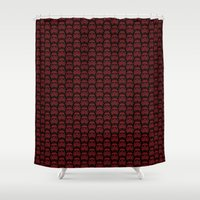 burgundy Shower Curtains featuring  Burgundy Stormtroopers by foreverwars