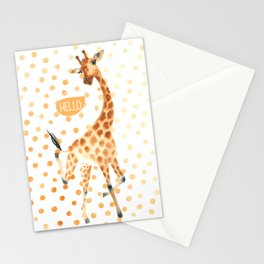 Dancing giraffe - polka dot Stationery Cards
