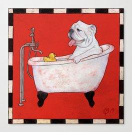 Bulldog in a Bathtub Canvas Print
