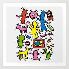 Keith Haring & Simpsons Art Print