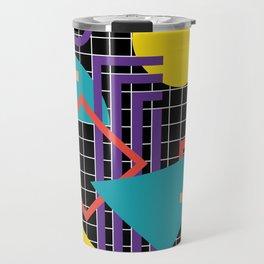 Memphis Pattern - 80s Retro Black Travel Mug