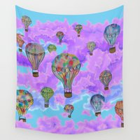 hot air balloons Wall Tapestries featuring Hot Air Balloons by docbdesign