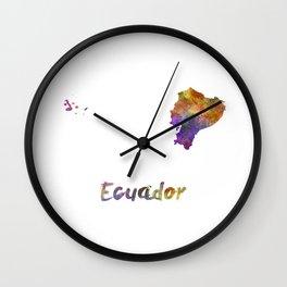 Ecuador in watercolor Wall Clock
