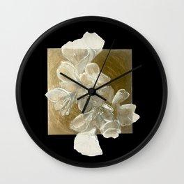 Golden Flowers Wall Clock