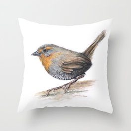 Chucao Bird Watercolor Animal Portrait Throw Pillow