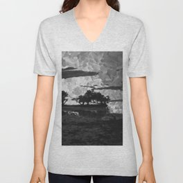 Sunset over the Lake Watercolor (Black and White) Unisex V-Neck