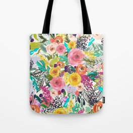Vibrant Autumn Floral with Turquoise Tote Bag