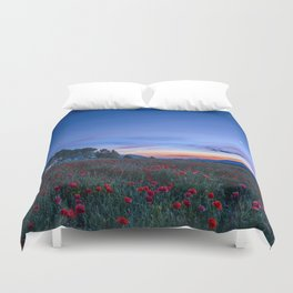"""""""Venus and Moon over spring poppies"""" Duvet Cover"""