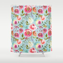 pink and blue watercolor peonies Shower Curtain
