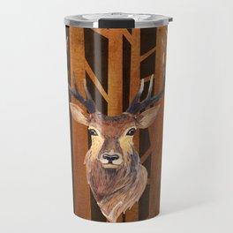 Proud deer in forest 1- Watercolor illustration Travel Mug