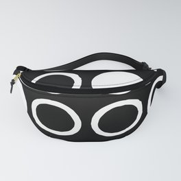 Mid Century Modern Circle and Dot Pattern 232 Black and White Fanny Pack