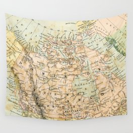 North America Vintage Map Wall Tapestry