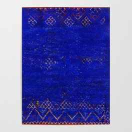-A5- Royal Calm Blue Bohemian Moroccan Artwork. Poster