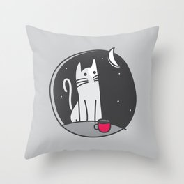 The Cat, the Moon & the Coffee (Sleeplessness) Throw Pillow