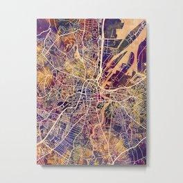 Belfast Northern Ireland City Map Metal Print